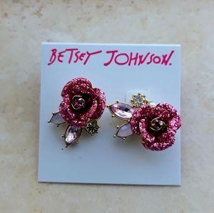 Betsy Johnson Pink Rose Earrings